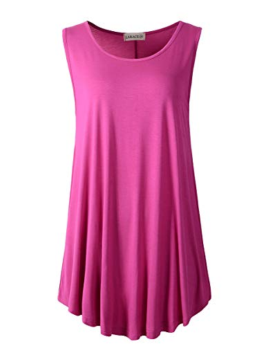 LARACE Women Solid Sleeveless Tunic for Leggings Swing Flare Tank Tops ()