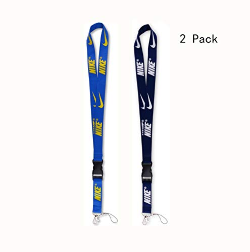 Lanyard with Hook and Buckle 2 Pack, Street Fashion Trendy Sports Style Neck Lanyard for Keys Phones ID Card Name Tag Bags Accessories -Deep Blue and Blue