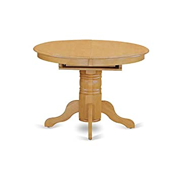East West Furniture AVT-OAK-TP Single Pedestal Table, Oak Finish