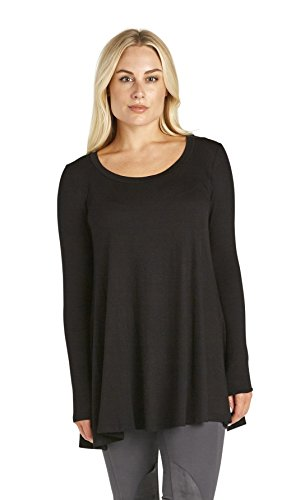 Free to Live Women's Loose Flare Fit Extra Long Tunics (Large, Black) (Live Extra)