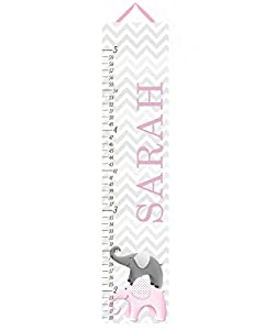 Canvas Growth Chart Pink and Grey Chevron Elephant Girls Kids Bedroom Baby Nursery Wall Art GC0231
