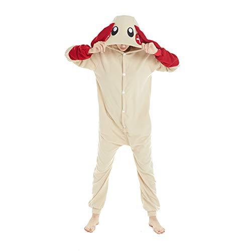 (URVIP Easter Rabbit Pajama One Piece Cozy Polar Fleece Halloween Cosplay Costume red ear)