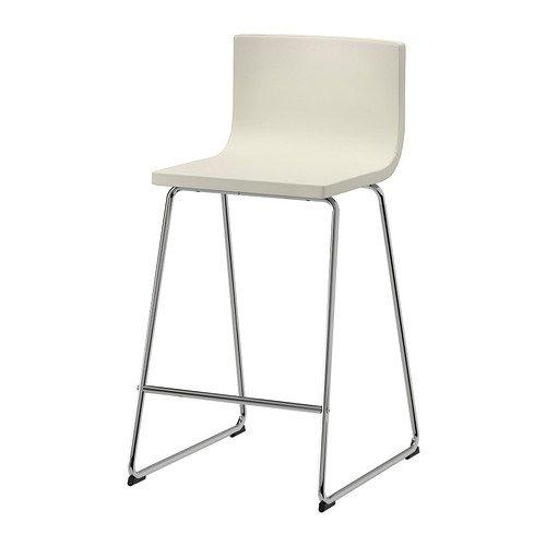 Ikea Bar stool with backrest, chrome plated, Mjuk Kavat white 1824.23820.2610