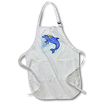 3dRose apr_1099_2 22 by 24-Inch Daisy Bottlenosed Dolphin Apron with Pouch Pockets, Medium