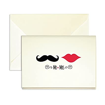 Amazon Com Red Lips Mustache Thank You Cards Pack Of 25 5 X