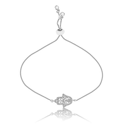 Hamsa Hand Charm - THINK POSITIVE Hamsa Hand with Rhinestones Charms Snake Chain 2 Gemstones Danglers Ball Clasp Adjustable Silver (TPS329-SILVER)