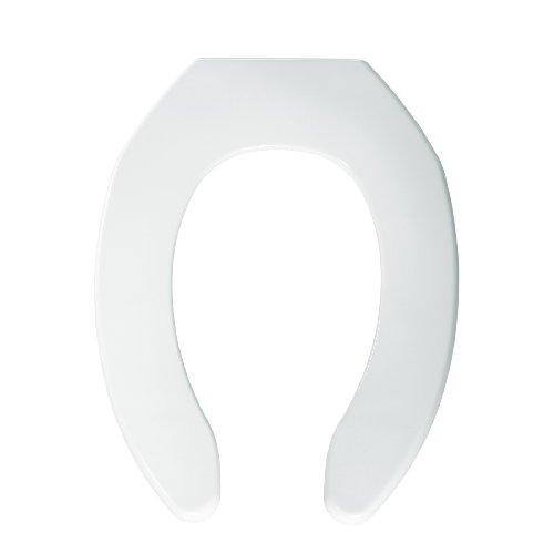 White Commercial Plastic Toilet Seat (Bemis 1055000 Plastic Elongated Toilet Seat Open Front Less Cover, White)