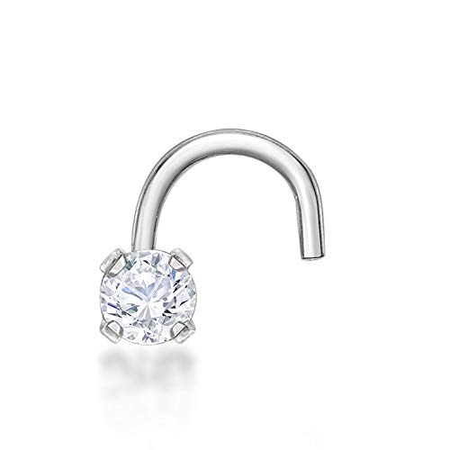 Lavari - 14K White Gold 2mm White Cubic Zirconium Nose Ring Curve Stud Twist Screw 22G (Cubic Zirconium Ring 14k)