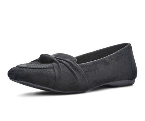Jellypop Womens Chrissy Flat In Pelle Scamosciata Nera Come