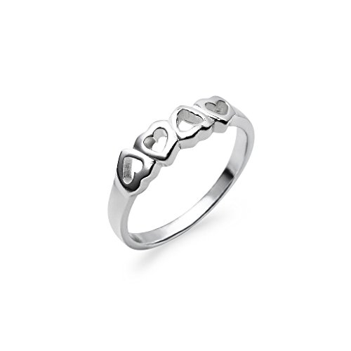 Up & Down Multi Heart Row Sterling Silver Band Ring, Charm Ring in Size 7 -