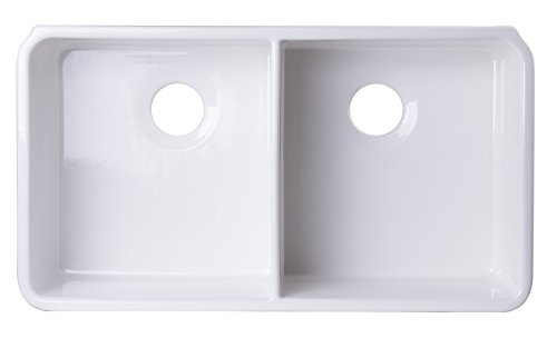 - ALFI brand AB512UM-W White Double Bowl Fireclay Undermount Kitchen Sink, 32