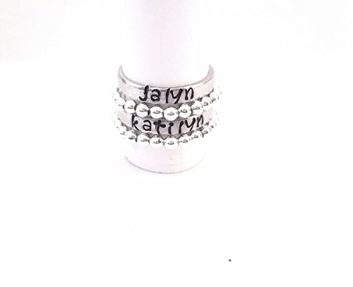 Stack Set of 4 Personalized Stackable Name Ring - Lovers Name Ring - Hand Stamped Pewter Custom Name Ring, Personalized Ring, Girlfriend Boyfriend Name Personalized Name Ring, Stacking ()