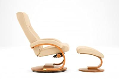 Oslo Shiatsu Massage Leather Swivel Recliner and Ottoman Color: Cobblestone