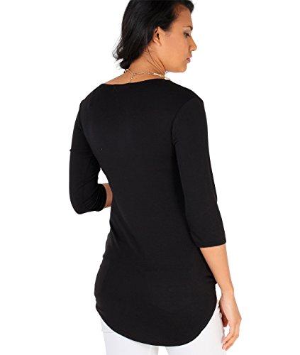 Premamá Camiseta Top Asimétrico Cruzado Estilo Plisado con Cinturilla Elástica Negro