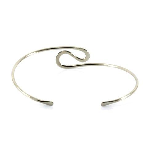 Mgd, 23mm de large Big en forme de S Tour de Bras réglable haut du bras Bracelet, Argenté Base Laiton, taille unique, bijoux tendance pour femme, Je-0120m