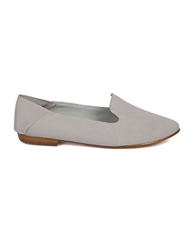 Breckelles Women Nubuck Slip On Mocassino - Casual, Ufficio, Tutti I Giorni, In Movimento - Slip On Flat - Gh12 By Grey