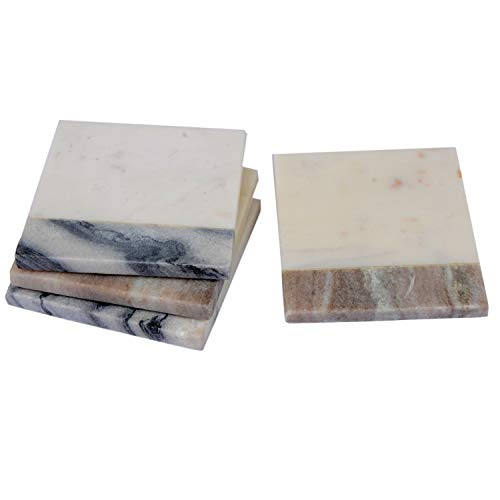 - Ecstassy Handmade Mixed Marble Coasters | Table Coaster | Bar Coaster | Stone Coasters for Drinks | Wine Coaster For Bar Glasses | Set contain two Grey-White and two Beige-White marble coasters