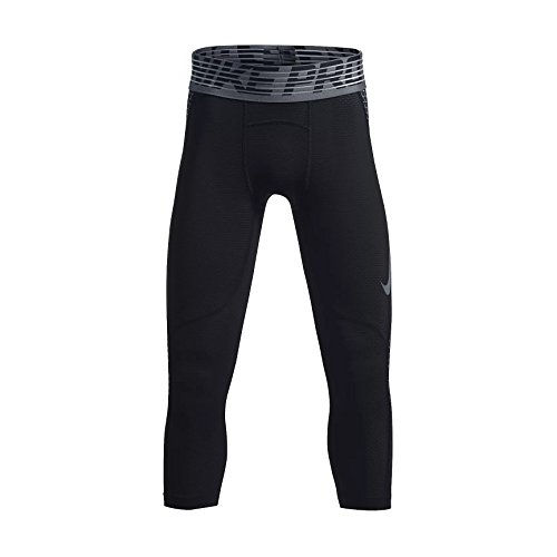 NIKE Boy`s Pro Hypercool 3/4 Compression Tights (Black (832536-013)/Cool Grey/Reflective Silver, Large)