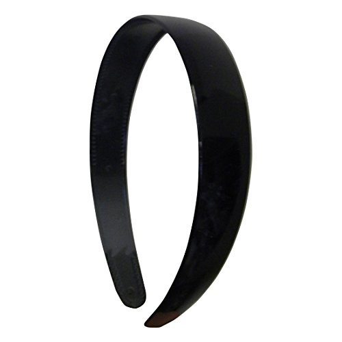 Black 1 Inch Plastic Hard Headband with Teeth Head band Women Girls (Motique - Black Headband