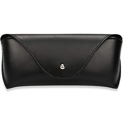 Portable Leather Sunglasses Pouch Soft Eye Glasses Carry Case for Women Men Student Horizontal Sunglass Box Case (Black) ()