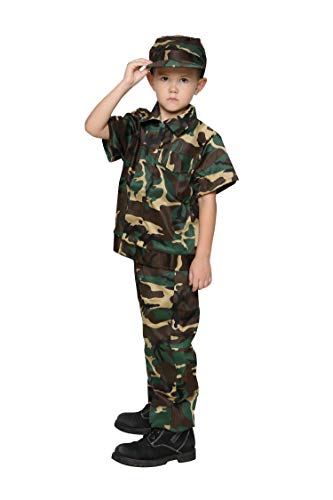 Jason Party Boys Army Costumes Camo Costumes for Kids (shortwoodland 10-12, shortwoodland) -