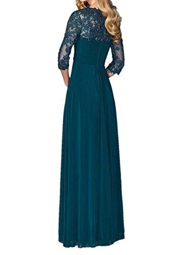 Festlichkleider La Braut A Rock Hochzeits Fuer Grau mia Linie Partykleider Abendkleider Langarm Brautmutterkleider Chiffon 7r7qga