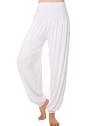 ARRIVE GUIDE Women's Elastic Waist Baggy Soft Modal Yoga Jogger Pants White Large