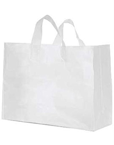 Count of 250 Large Clear Frosted Plastic shopping Bags - 16'' x 6'' x 12'' (Vogue)