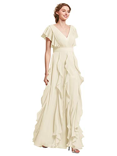 AW Bridal Long Bridesmaid Dresses for Women Formal Dresses with Sleeves Chiffon Gowns and Evening Dresses, Ivory, US12