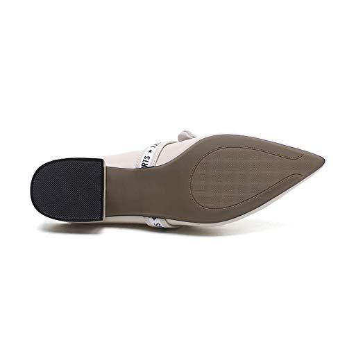 antidérapantes Taille EU Sauvage Vintage Cuir Plates Pantoufles Couleur Abricot 38 en Noir Yiwuhu Fqx1ATn