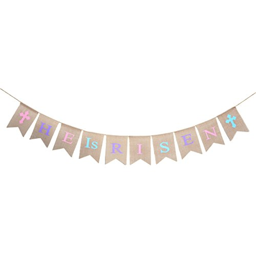 LUOEM Easter Banners Happy Easter Decorations HE IS RISEN Burlap Jute Bunting Banners Garland Easter Party Decors Favors