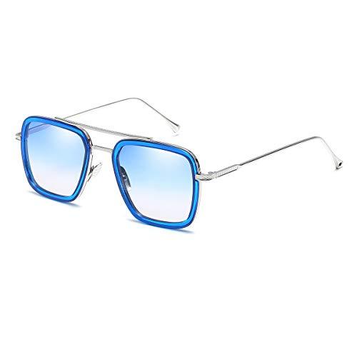 Vintage Aviator Square Sunglasses for Men Women Silver Frame Glasses Retro Brand Designer Classic Tony Stark Glaases