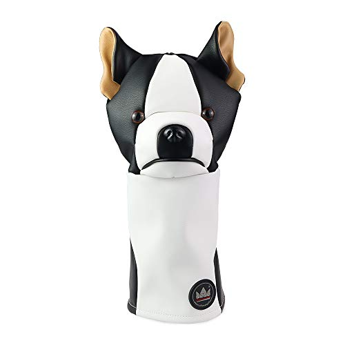 Craftsman Golf Black & White Synthetic PU Leather Dog Driver Head Cover Headcover