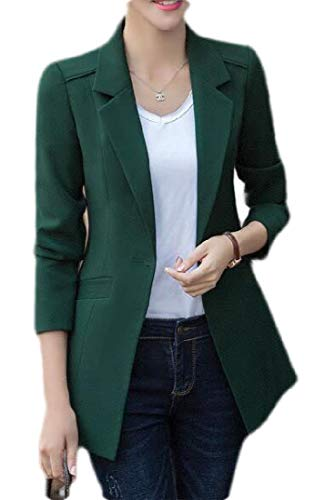 SHOWNO Women's Mid Length Solid Formal Work Office Blazer Jacket Suit Coat