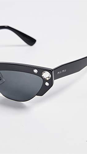 Amazon.com: Miu Miu Womens Narrow Cat Eye Sunglasses, Black ...
