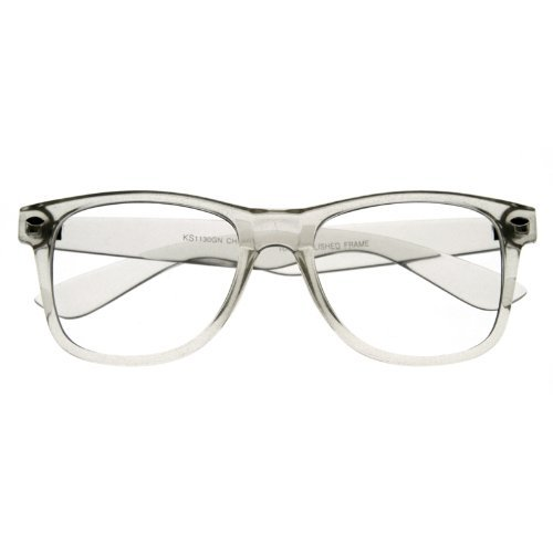 zeroUV - Clear Transparent Translucent Crystal Frame Clear Lens Horn Rimmed Glasses (Clear)