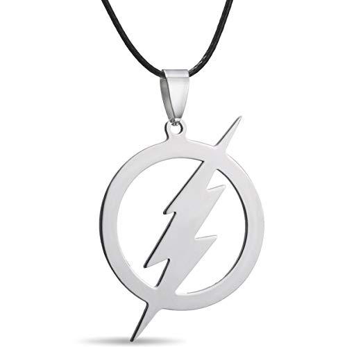 (RINHOO Stainless Steel Superhero Flash Nekclace Lightning Necklace Pendant for Men boy Gift (1pc-Flash))