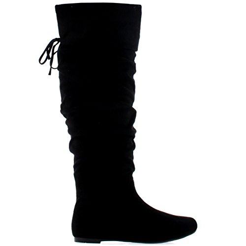 Alta Donna Stivali Equitazione Pirata Inverno Camoscio Coscia Alto Moda Scarpe Nero wCE8qCxrU