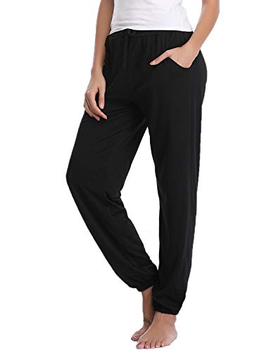 (Abollria Women's Cotton Pajama Pants Stretch Knit Lounge Pants with Pockets Black XL)