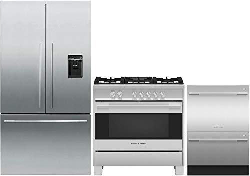 (Fisher Paykel 3 Piece Kitchen Package in Stainless Steel RF201ADUSX5 36