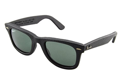 Ray Ban RB2140QM 1152N5 50 Black Leather Wayfarer Sunglasses Bundle - 2 Items