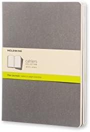 Caderneta Cahier, Cinza, Conjunto com 3 Unidades, Sem Pauta, Tamanho Extra Grande