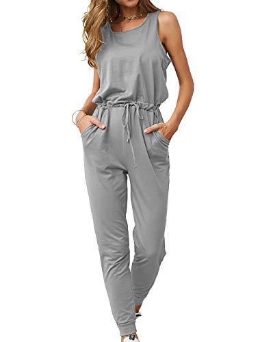 KIRUNDO Women's 2019 Summer Solid Casual Sleeveless Drawstring Waist Long Pants Rompers Jumpsuits with Pockets (Medium, Grey)