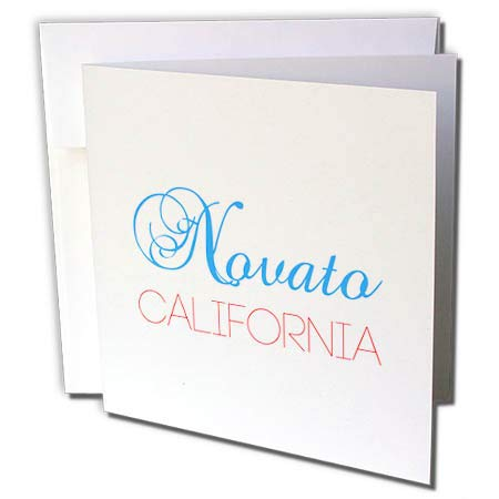3dRose Alexis Design - American Cities California - Novato, California, red, Blue Text. Patriotic Home Town Design - 12 Greeting Cards with envelopes (gc_302752_2) -