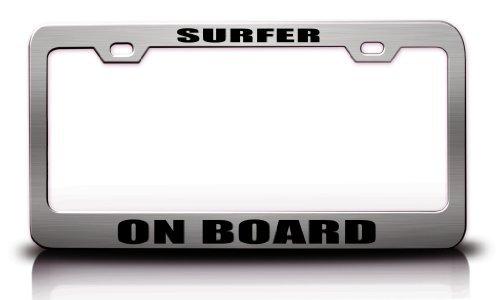 - Surfer ON Board SPOR Sports Player Steel Metal License Plate Frame Tag Holder Chrome