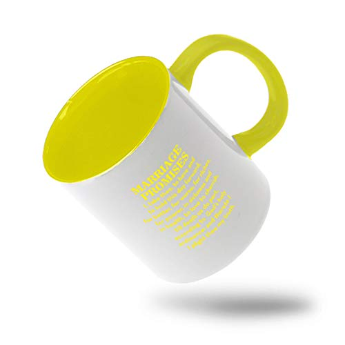 Style In Print Yellow Marriage Promises I Take Three to Have and to Hold This Day Forward for Better Ceramic Cup Colored Mug - Yellow -