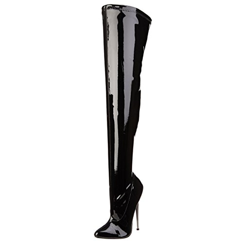Summitfashions Black Patent Stretch Thigh High Boots with 6.25 Inch Brass Fetish Heels Size: 14