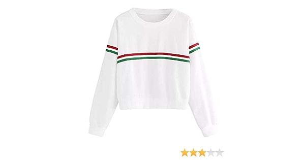 DEELIN Moda Simple OtoñO De Las Mujeres De Cuello Rojo Y Verde De Dos Barras De Manga Larga Camisa Camisa Camiseta Blanca