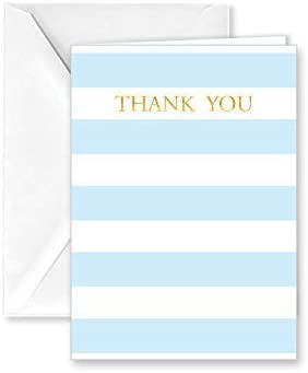 Paper Frenzy Baby Blue Stripe Thank You Note Cards and Envelopes - 25 pack