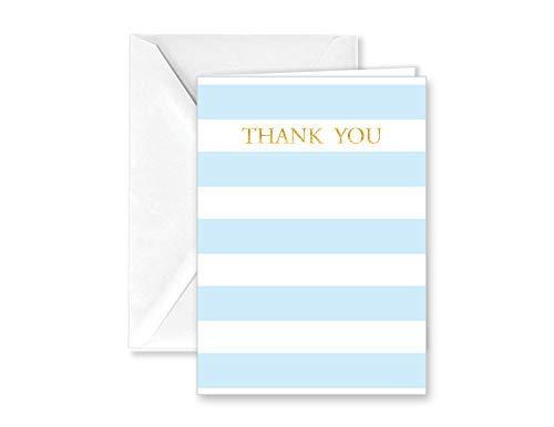 종이 광란 베이비 블루 스트라이프 노트 카드와 봉투 감사합니다 - 25 팩